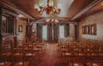 Aisle view of Hampton Court wedding venue at the Prince of Wales Hotel in Niagara-on-the-Lake