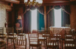 Guest view of wedding ceremony at Hampton Court venue at the Prince of Wales Hotel in Niagara-on-the-Lake