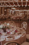 Table setting and ambience at the Upper Canada Hall Ballroom wedding venue at the Pillar & Post in Niagara-on-the-Lake