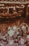 Floral centerpieces at the Upper Canada Hall Ballroom wedding venue at the Pillar & Post in Niagara-on-the-Lake