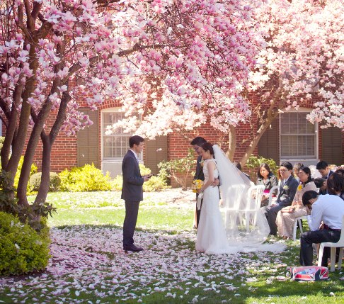 Couple getting married at the Courtyard Rose Garden wedding venue at the Pillar & Post in Niagara-on-the-Lake