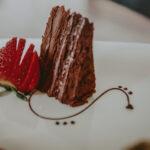 Chocolate cake catered to meetings at Inn On The Twenty in Jordan Village
