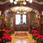Christmas decorations in the lobby of the Prince of Wales Hotel