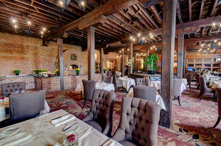 Rustic decor in the Cannery Restaurant at the Pillar & Post in Niagara-on-the-Lake