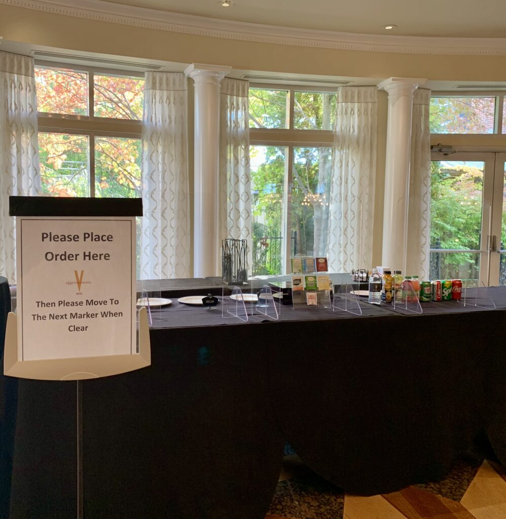 food and beverage program set up during covid 19 at Queen's Landing Hotel