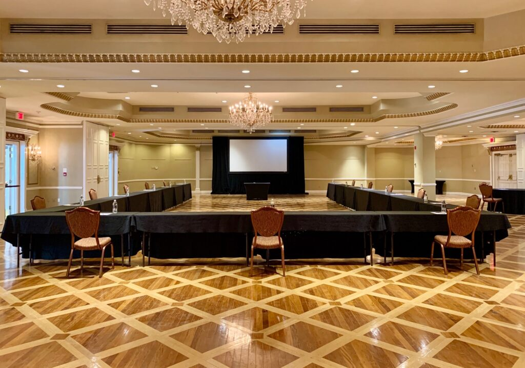U shape meeting set-up at Queen's Landing Hotel during covid-19