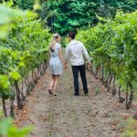 Couple on the walking through the vineyard in Twenty Valley