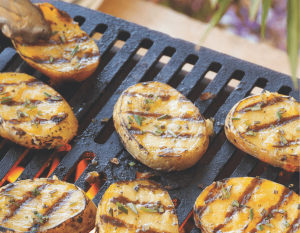 Grilled Tender Skin Potato on the grill