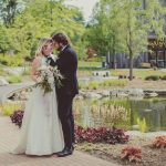 Couple share an intimate moment during their fairytale wedding at the Pillar & Post Hotel in Niagara-on-the-Lake